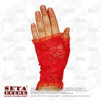 """Красные перчатки-митенки """"Розочки"""" короткие, гипюровые"""