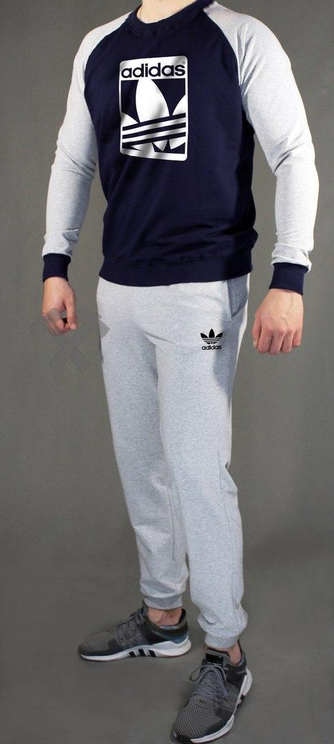Мужской Спортивный Костюм Adidas Серый с Синим (люкс Копия) — в ... 0e531fe9eec