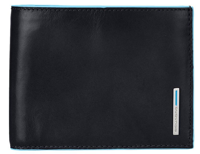 Стильное портмоне Piquadro Blue Square горизонтальное с отделением для монет  PU1240B2_N черный