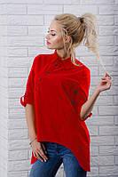 Женская рубашка однотонная с длинным рукавом