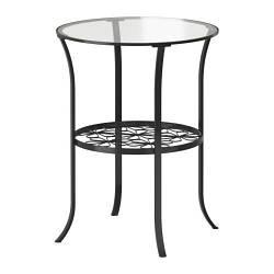 КЛИНГСБУ Придиванный столик, черный, прозрачное стекло, 20128564, ІКЕА, ИКЕА, KLINGSBO