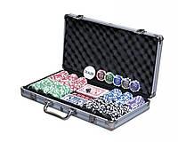 Покерный набор в алюминиевом кейсе на 300 фишек с номиналом