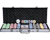 Покерный набор в алюминиевом кейсе на 500 фишек с номиналом (62x21x8см)