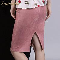 Женская юбка узкая высокой и средней посадкой замш сзади с разрезом _Н