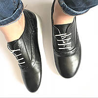 Слипоны, натур. кожа, Польша р. 36-40, черные на шнуровке, фото 1