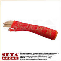 """Красные гипюровые перчатки (митенки) """"Розочки"""" длинные без пальцев."""