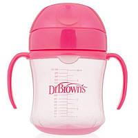 Тренировочный поильник с мягким носиком Dr. Brown's 6 м+ Розовый (61001)