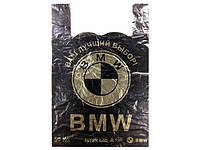 Пакет майка тип БМВ(36+2х8)х55 черный Кривой Рог (50 шт)