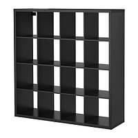 КАЛЛАКС Стеллаж 4х4 ящика, черно-коричневый, 10275862, ІКЕА, ИКЕА, KALLAX