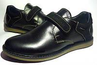 Туфли детские подростковые школьные кожа р.32-39 с ортопедической стелькой черные, Украина
