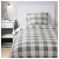 EMMIE RUTA Постельное белье, серый, белый, 30261430, ИКЕА, IKEA