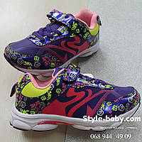 Фиолетовые кроссовки на девочку с цветочным рисунком тм Том.м р. 27,30,31