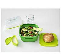 БЛАНДНИНГ  Контейнер для салата, зеленый, 50287684, ИКЕА, IKEA, BLANDNING