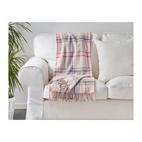 ГЕРМИНЕ Плед, бежевый, розовый, 40212161, ИКЕА, IKEA, HERMINE