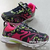 Яркие кроссовки на девочку с цветочным принтом тм Том.м р. 26,27,28,29,30,31