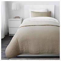 КАРИТ Покрывало и чехол на подушку, бежевый, 50269246, ИКЕА, IKEA, KARIT
