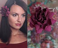 """""""Гардения марсала"""" заколка/брошь цветок . Украшение ручной работы из полимерной глины"""
