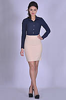 Бежевая модная юбка женская в офис Офелия Размер 48