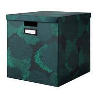 ТЬЕНА Коробка с крышкой,  черно-синий, 00364397, ИКЕА, IKEA, TJENA