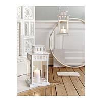 БОРБЮ Фонарь для формовой свечи, белый,  90070144, ИКЕА, IKEA, BORRBY
