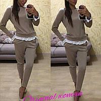 Женский костюм двойка кофта с имитацией рубашки и штаны с карманами _Н