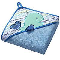Полотенце с капюшоном BabyOno Frotte 100x100 см Кит Голубой (142/04)