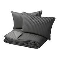 КАРИТ Покрывало и 2 чехла на подушку, серый, 10290240, IKEA, ИКЕА, KARIT