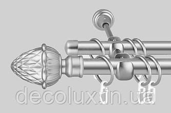 Карниз для штор дворядний металевий 19 мм (комплект) Сатин