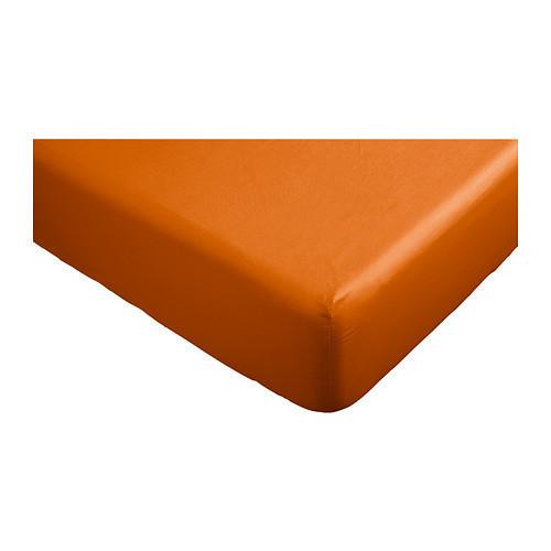ДВАЛА Простыня натяжная, оранжевый, 180х200 см, 90289624, ИКЕА, IKEA, DVALA