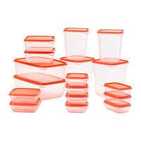 ПРУТА Набор контейнеров, 17 шт., оранжевый, 80251551, IKEA, ИКЕА, PRUTA