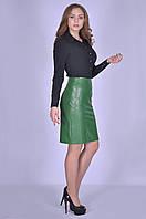 Зелёная модная юбка женская кожаная Виктория Размер 48