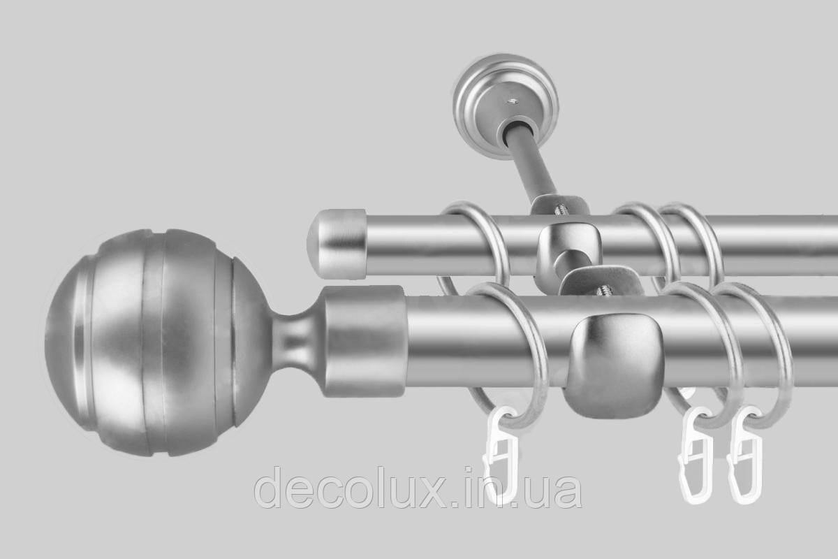 Карниз для штор двухрядный металлический 25 мм (комплект)