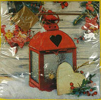 Праздничная салфетка (ЗЗхЗЗ, 20шт) LuxyНГ Рождественский фонарь (846) (1 пач) заходи на сайт Уманьпак
