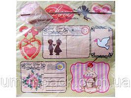 Салфетки бумажные праздничные (ЗЗхЗЗ, 20шт) Luxy  Любовная новость (153) (1 пач)