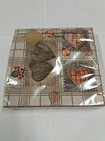 Салфетки бумажные праздничные (ЗЗхЗЗ, 20шт) Luxy  Резные сердца 111 (1 пач)