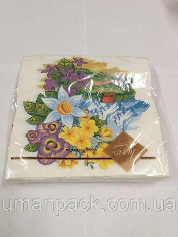 Серветки паперові гарні з малюнком (ЗЗхЗЗ, 20шт) Luxy Чудовий сад 661 (1 пач)