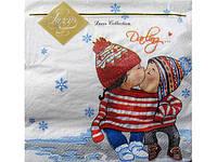 Праздничная салфетка (ЗЗхЗЗ, 20шт) Luxy  Первый поцелуй (801) (1 пач) заходи на сайт Уманьпак