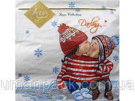 Салфетки бумажные праздничные (ЗЗхЗЗ, 20шт) Luxy  Первый поцелуй (801) (1 пач)