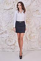 Сине-коричневая модная юбка женская теплая Злата Размер 46