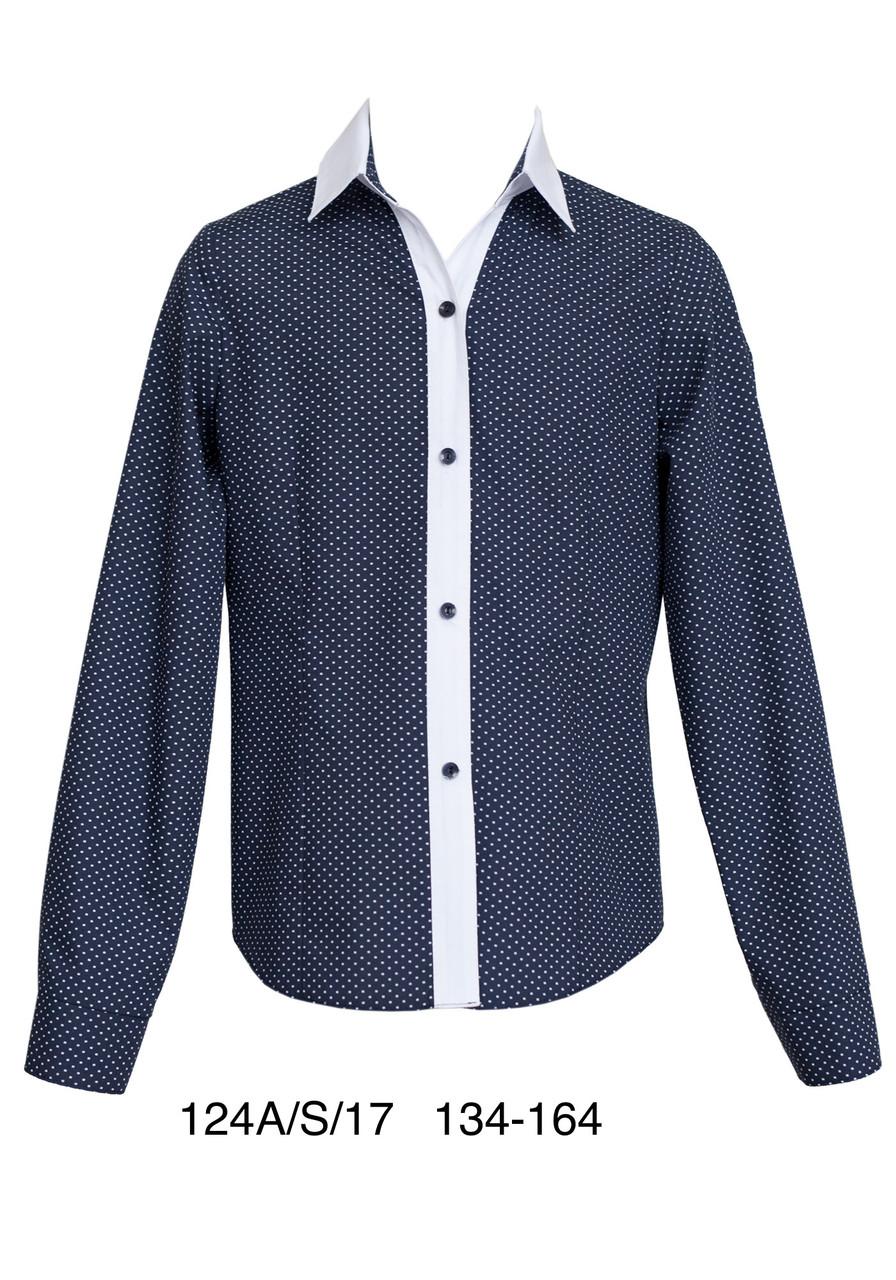 Блуза школьная для девочки синяя SLY с  длинным рукавом