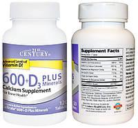 21st Century, Кальций, 600 мг + Витамин Д3, 800 IU + Минералы, 120 таблеток