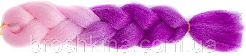 Канекалон омбре розово-сиреневый 60 см в плетении