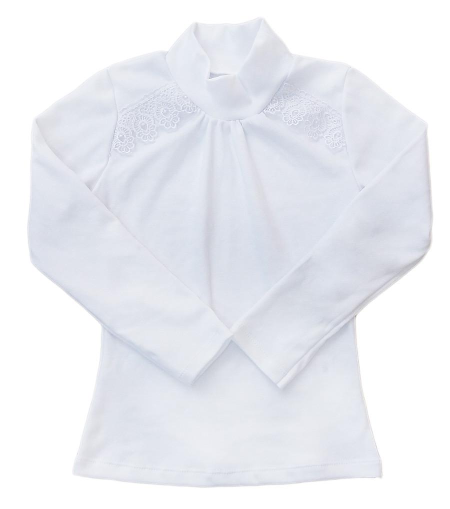 Школьная белая блуза с кружевом