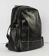 Стильный школьный, подростковый, студенческий рюкзак с эко-кожи, черный