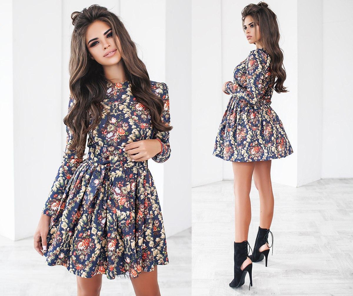 Джинсовое платье с цветочным принтом