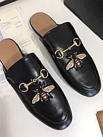 Модные мюли Гуччи  'Princetown' с пряжкой-трензелем пчелка
