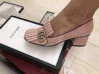 Замшевые женские туфли Гуччи Marmont с пряжкой