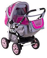 Детская коляска трансформер «Young» Adamex 621151, серо-малиновая