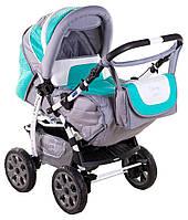Детская коляска трансформер «Young» Adamex 621139, серо-бирюзовая