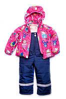 """Демисезонная куртка-жилетка """"Animals"""" на девочку 1,5-4 лет (Размер 86-104, п/э) ТМ """"Модный карапуз"""" Малиновый 03-00695-0"""